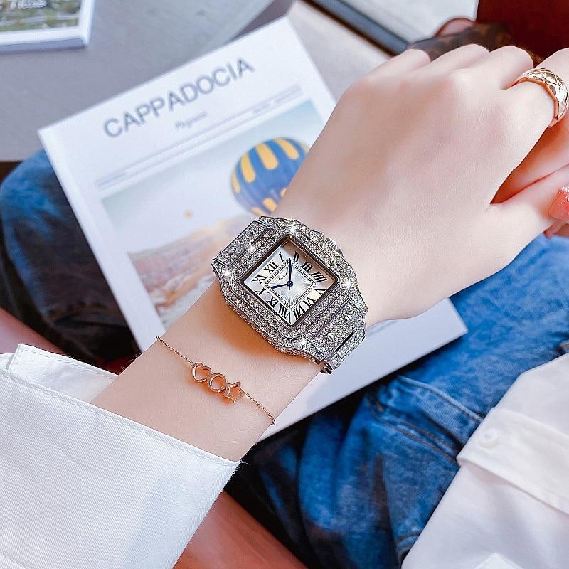 New Luxury Design Women Bracelet Big Watches Fashion Square Ladies Dress Quartz Waterproof Sport Wristwatch Montre Femme + Box
