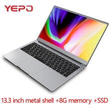 Laptop 13.3 cala metalowa obudowa N4100 czterordzeniowy 8G RAM 512GB 256GB 128GB SSD IPS ekran Win10 ultrabook