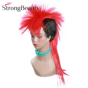 StrongBeauty Long Halloween Wigs Red/Blue Punk Style Cosplay Wig Synthetic Hair