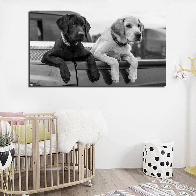 Marco de decoración del dormitorio de los niños del hogar moderno de impresión de imagen de pared de Arte de perro de Labrador blanco negro