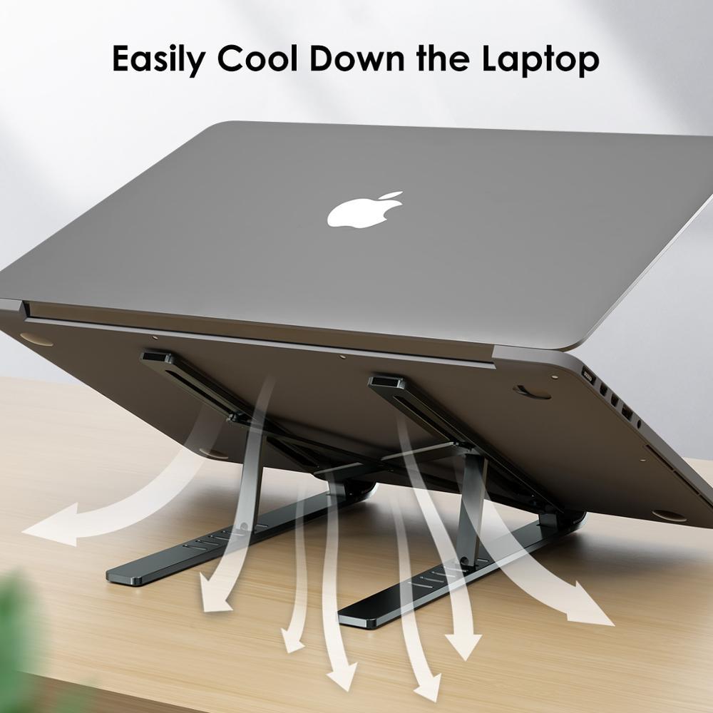 LICHEERS محمول حامل لماك بوك برو دفتر الهواء طوي سبائك الألومنيوم حامل الكمبيوتر المحمول قوس حامل الكمبيوتر المحمول لأجهزة الكمبيوتر المحمول