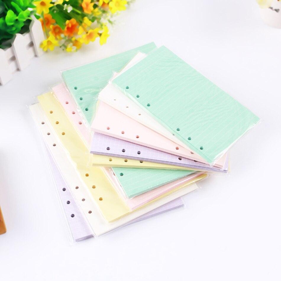 Diario notas A5a6 libreta colorida accesorios Color sólido planificador Inners relleno papeles 40 hojas/juego en el interior