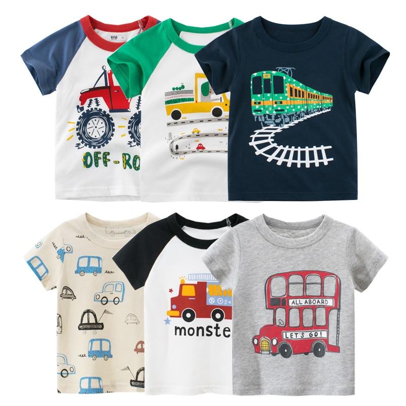 2-10Years Cartoon Car Print Boys Girls T Shirt Summer Children Kids Clothes Shorts Sleeve O-Neck Cotton Tops Tees Dropshipping