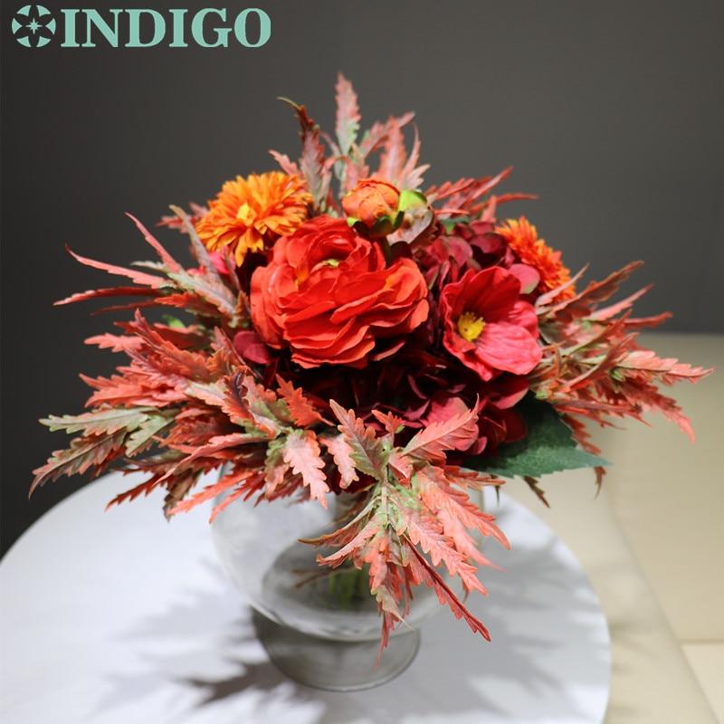 INDIGO - Red Bouquet Hydrangea Red Anemone Arrangement Wedding Bride Bouquet Party Event Exclusive Sales Free Shipping