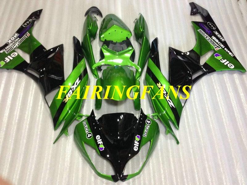 Inyección de carenado kit de cuerpo para KAWASAKI Ninja ZX6R 636 09 10 11 12 ZX 6R 2009 2010 verde y negro carenados carrocería + regalos KR23