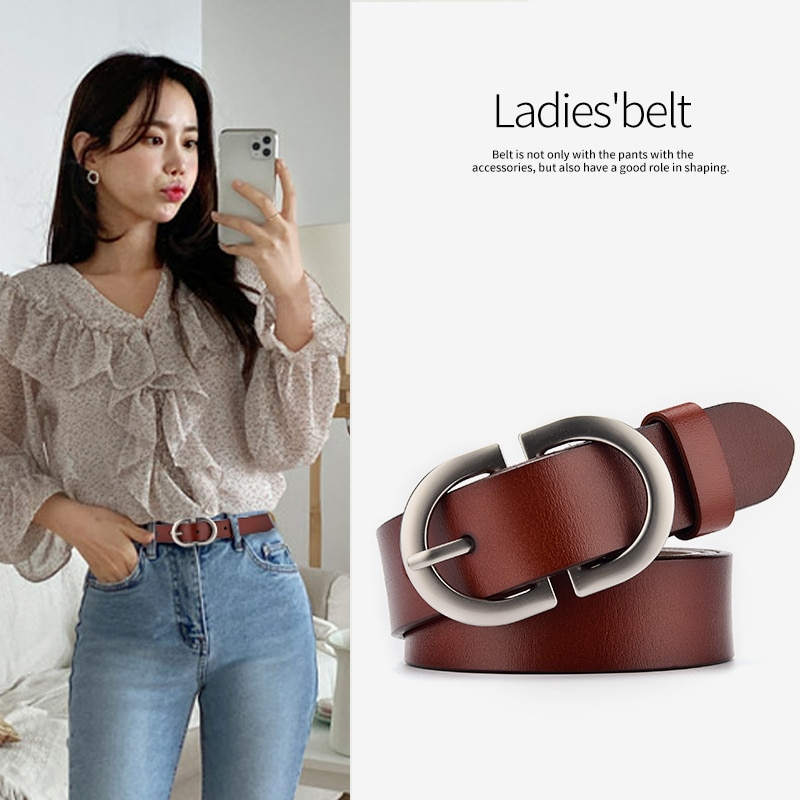 Belt For Women Pin Buckle Metal Adjustable High Quality Waistband Jeans Girl Fashion Luxury Lady Gir
