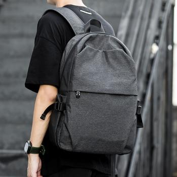 Men Male Black Backpack Gray USB Charing Student School Backpack Bags For Teenagers Oxford Mochila  Rucksack Travel Daypack
