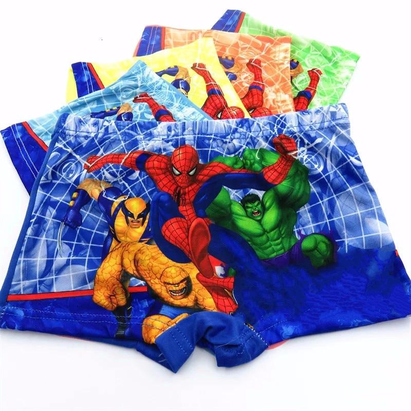 Ropa interior aleatoria 1 para niños, calzoncillos de estilo Boxer, calzoncillos para bebés de dibujos animados de Marvel, Spiderman, ropa interior para niños, bragas para niños