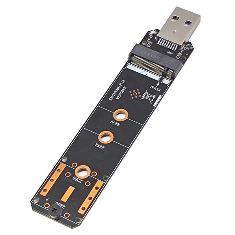 حاوية القرص الصلب USB3.1 إلى NVME, بروتوكول SATA مزدوج M.2 NGFF إلى منفذ RTL9210B