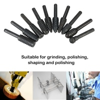 10pcs Rotary Files Rasp Set Woodworking Engraving Grinding dremal drill Bits 6mm Shank Carbon Steel Milling Cutter power Tools