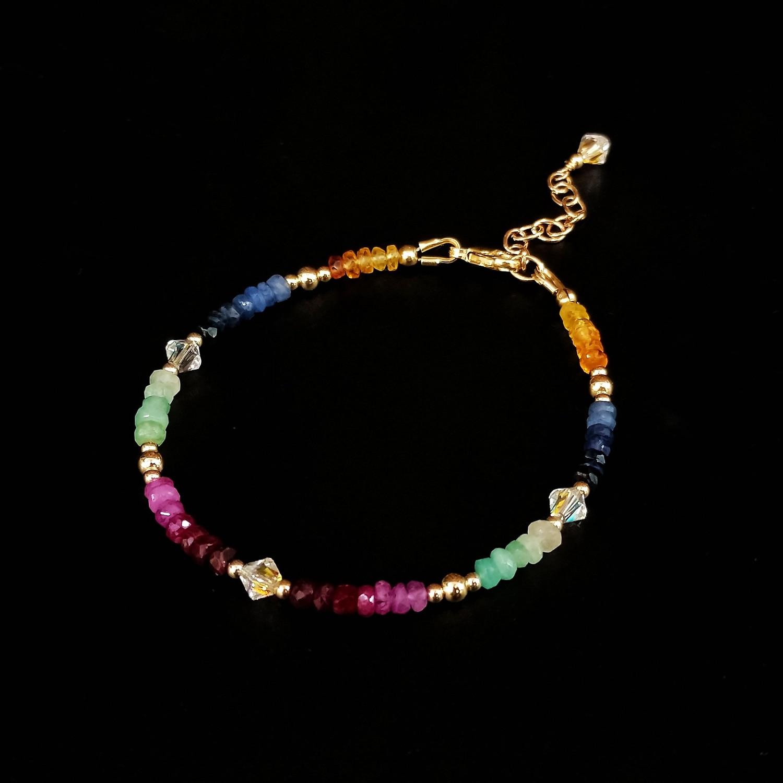 Lii Ji-سوار من الياقوت والزمرد والكريستال النمساوي عيار 14 قيراطًا ، 16 3 سنتيمتر ، مجوهرات مصنوعة يدويًا من الأحجار الكريمة الطبيعية للنساء