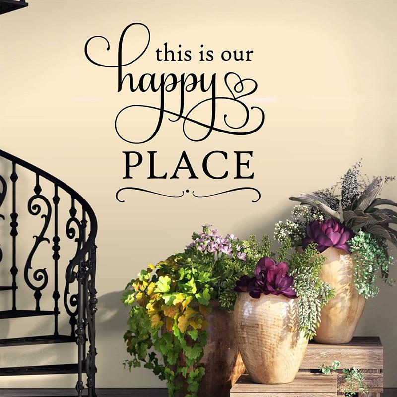 Este es nuestro lugar feliz Qutoe pegatina de pared casa sala de estar feliz Casa Familia frase romántica pegatina para pared de dormitorio vinilo