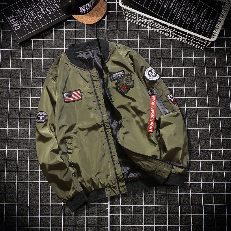 Thoshine marca primavera otoño hombres piloto chaqueta de Aviador Delgado Fit militar hombre prendas de vestir exteriores chaqueta parche Epaulet abrigos