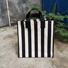 Fashion Large Capacity Striped Shopping Bag Canvas Korean Style Foldable Convenient Waterproof Handb