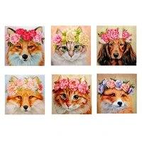 Peinture de diamant 5D a bricolage-meme  Kit de points de croix avec mosaique de diamant  broderie   chat renard   3D  peinture suspendue pour salle de maison  cadeau de decoration