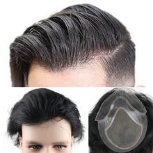 Perruque toupet Lace wig naturelle européenne lisse   Cheveux Remy, couleur naturelle noire, Swiss Lace Front, toupet Skin fine, faite à la main, pour hommes