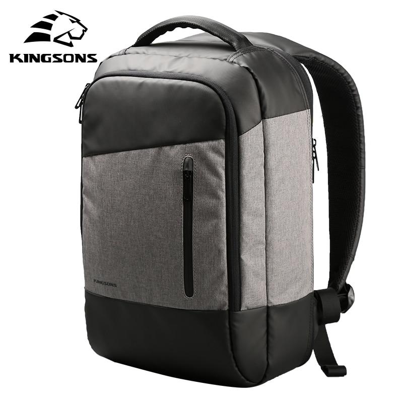 Kingsons Men Casual Daypacks USB Charging Laptop Backpack Phone Sucking Backpacks Teenager Travel Bags