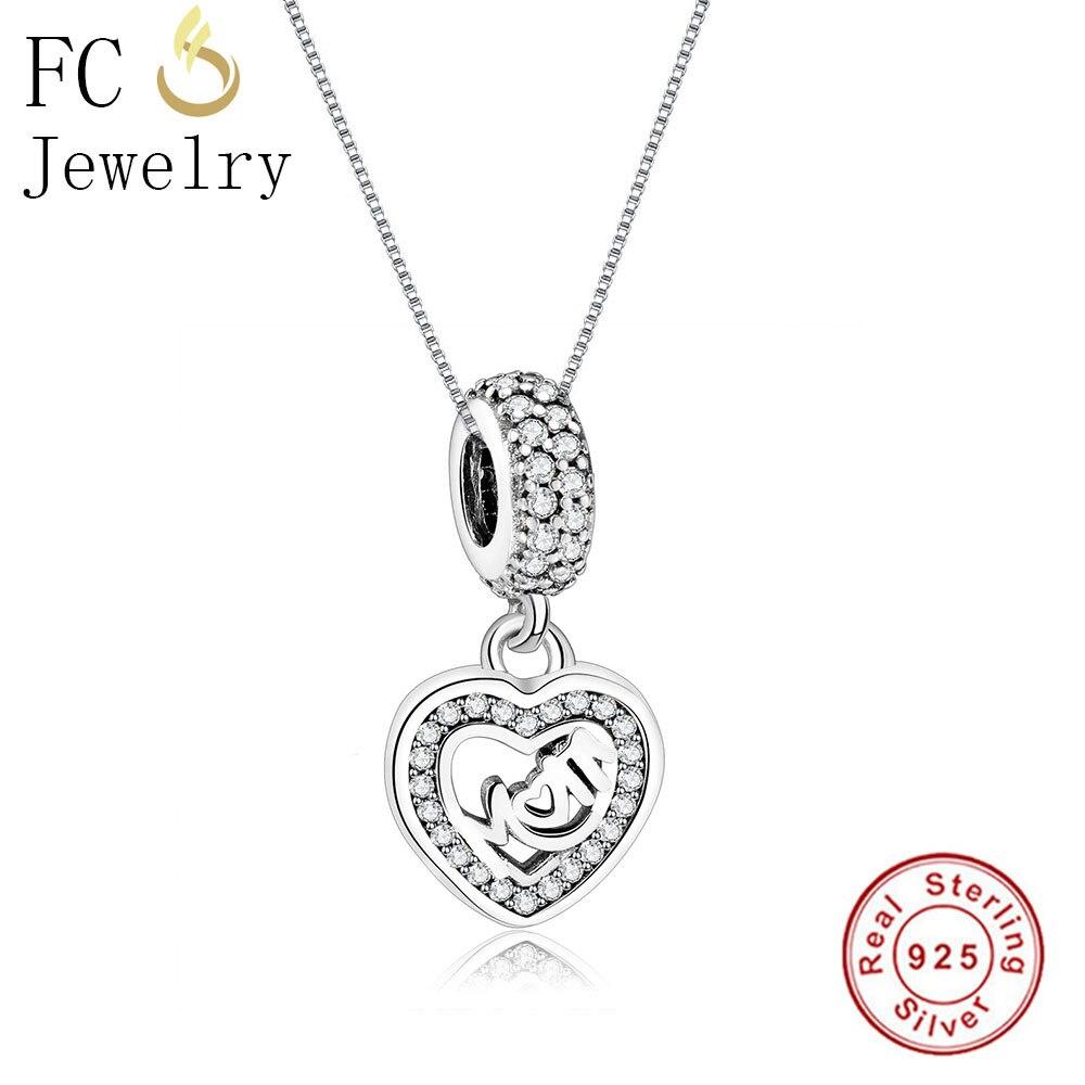 Collar con colgante de plata de ley 925 FC Jewelry, Collar con colgante de mamá, joyería europea para mujer, Gargantilla, Collar, abalorio 2018