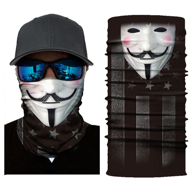 V para Vendetta Anime calavera Venom máscara de pesca senderismo gorro de esquí sin costuras Bandanas diadema a prueba de viento bufanda de deporte cuello polaina