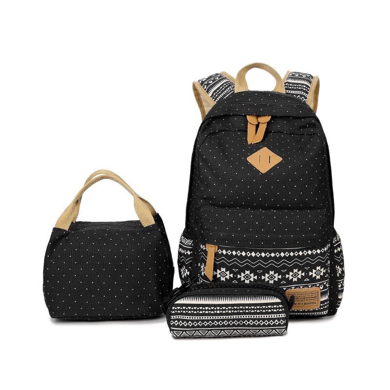3 unids/set de mochilas de lunares para mujer, bolsas de lona para impresión escolar para adolescentes, mochilas para niñas, lindas mochilas escolares, estuche para lápices para niños