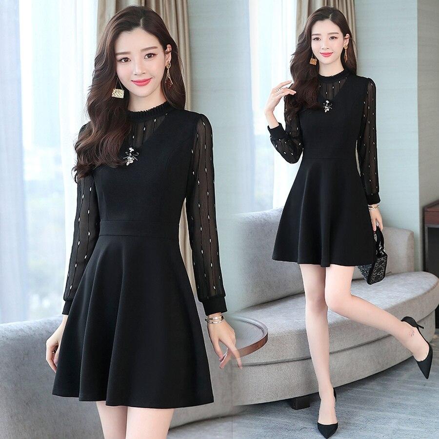 Vestido de oficina ajustado sólido de talla grande 4XL 2020 Vintage negro Mini Vestidos Otoño Invierno elegante Casual Vestidos de fiesta