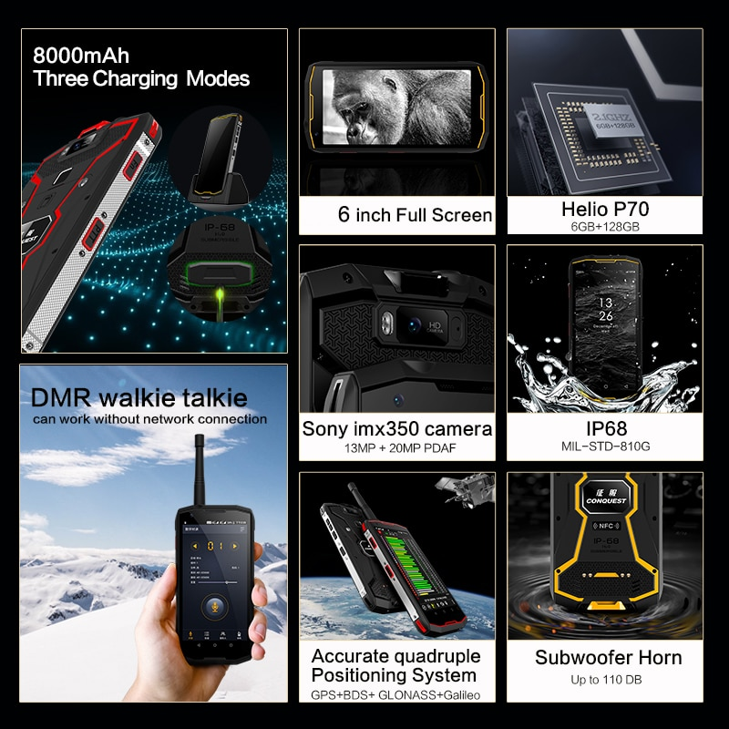CONQUEST S12 Pro 8000mAh Android Phone IP68 Waterproof Smartphones Rugged Smartphone Cell phone Cellphones  Mobile Phones Unlock enlarge