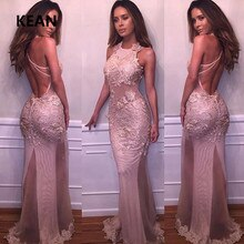 Pink Prom Dresses Satin Halter Appliques Slit Illusion Simple Party Dress Prom Gown Evening Dresses