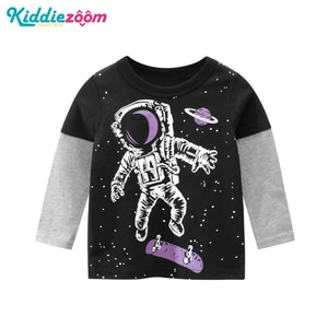 2020 Boys Clothes Cotton 2-9Year Full Sleeve Kids T-shirt Patchwork Children Tops Tees Print Boys Clothing O-Neck Black