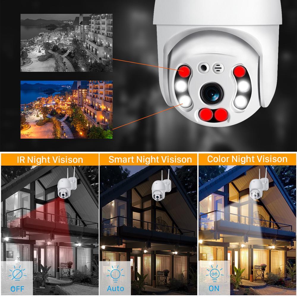 5MP cmara IP Wifi nube 1080P 4X Zoom Digital de la cmara de seguridad CCTV al aire libre AI humanos detectar seguimiento aut enlarge