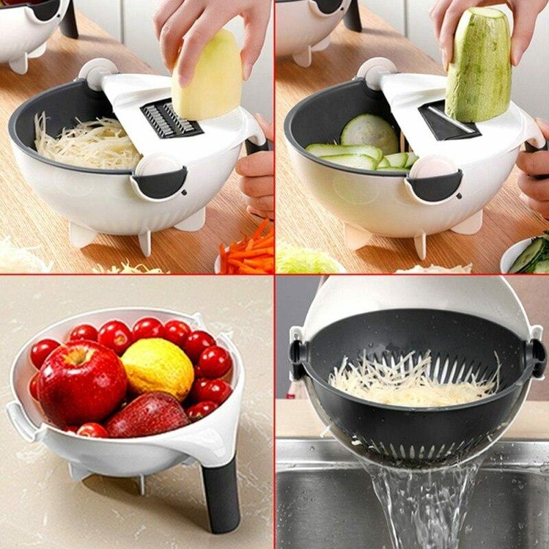 1 Pza Cortador Manual de frutas y verduras con trituradora de cestas de drenaje de patata y cebolla jengibre rallador accesorios de cocina cepilladora
