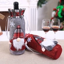 Christmas Drawstring Decorative Wine Bottle Covers Treat Bags Christmas Holiday Dining Table Home Pa