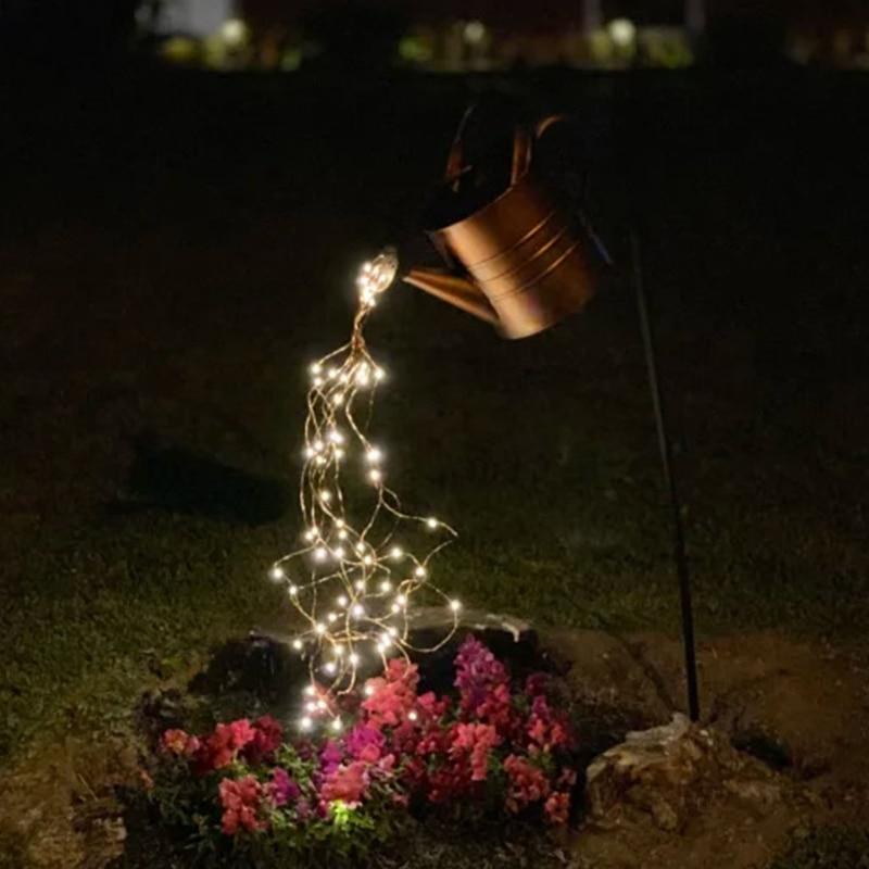 الإبداعية مسقاة نجوم دش حديقة الفن ديكور الإضاءة في الهواء الطلق البستنة مصباح حديقة في الهواء الطلق المشهد سلسلة أضواء T8NE