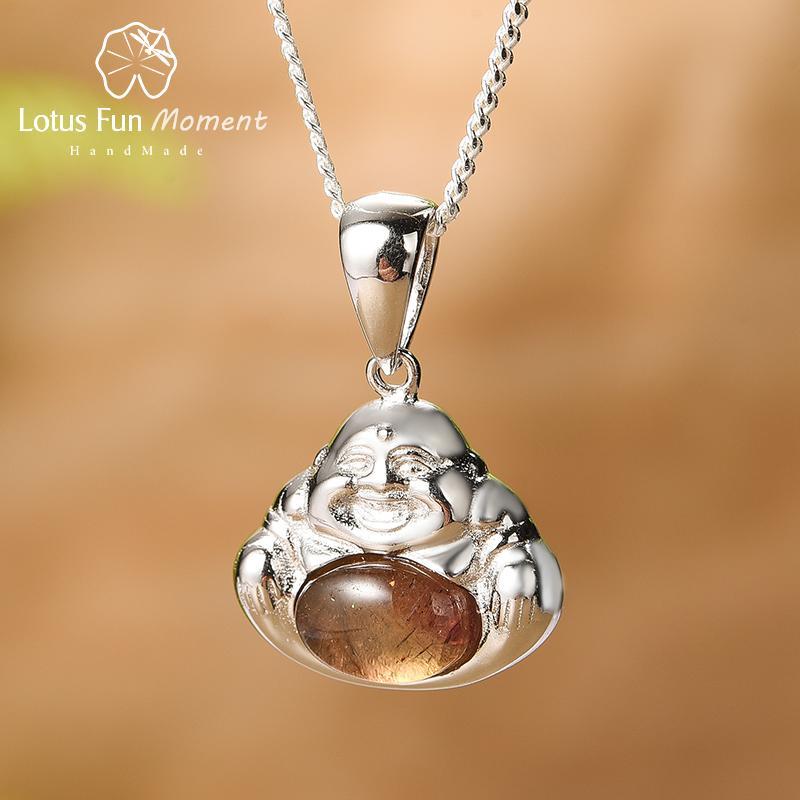 Lotus Fun de turmalina Natural, piedras preciosas verdes, collar de buda, plata de ley 925 auténtica, joyería fina, collares para mujer