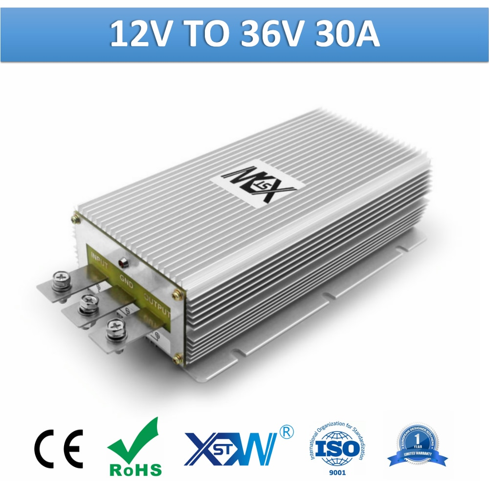 XWST DC to DC 12v to 36v 30A Non Isolated Step Up Boost Transformer 1080W 1kw High Power Converter 36volts DC Voltage Regulator