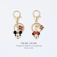 cute cartoon couples mouse keychain kids bag backpack pendant car keys holder womens keyring decor for airpods birthday gifts