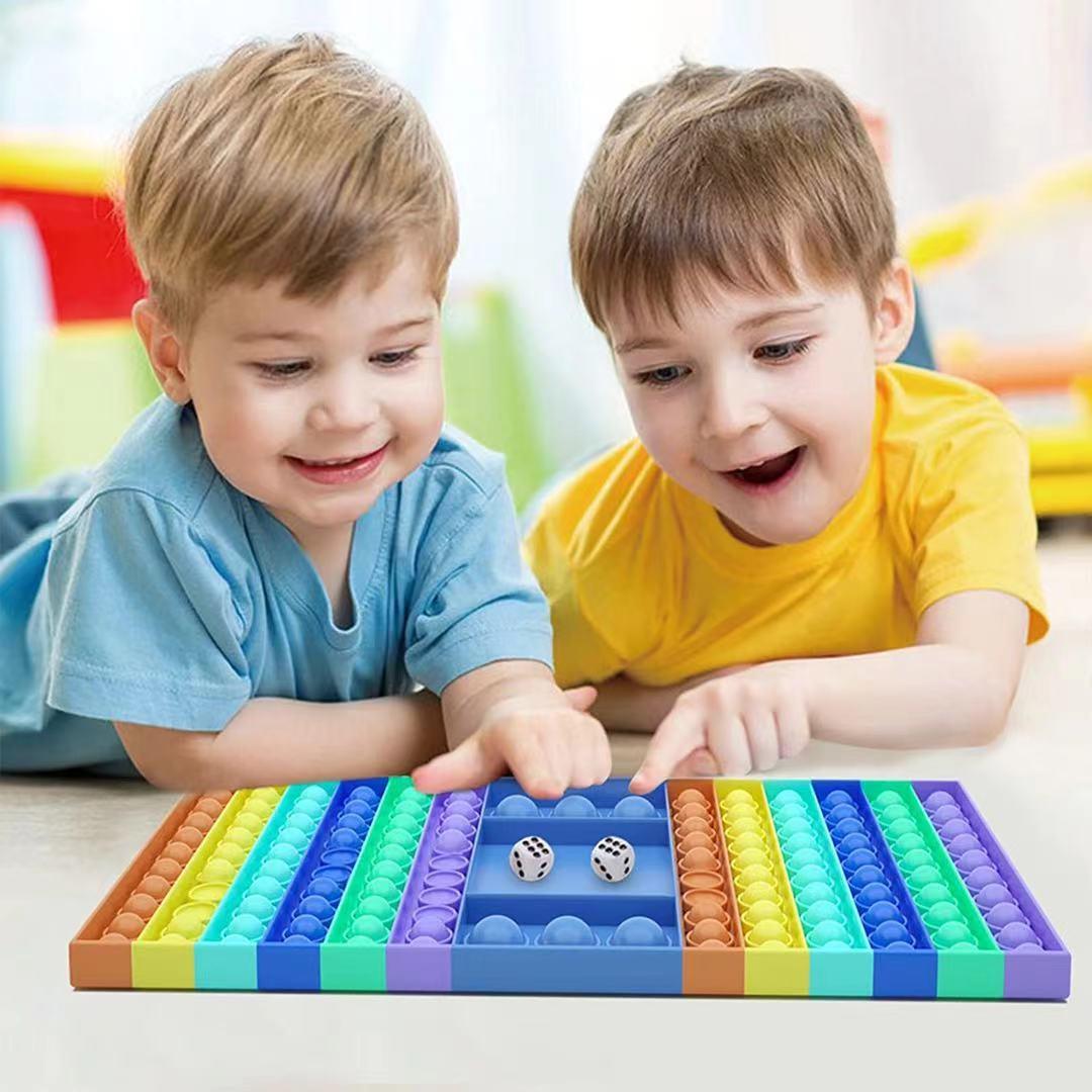 Big Fidget Toy Rainbow Chess Board Push Press Bubble Fidget Sensory Toys Stress Relief Toy Interactive Party Game Sensory Toy