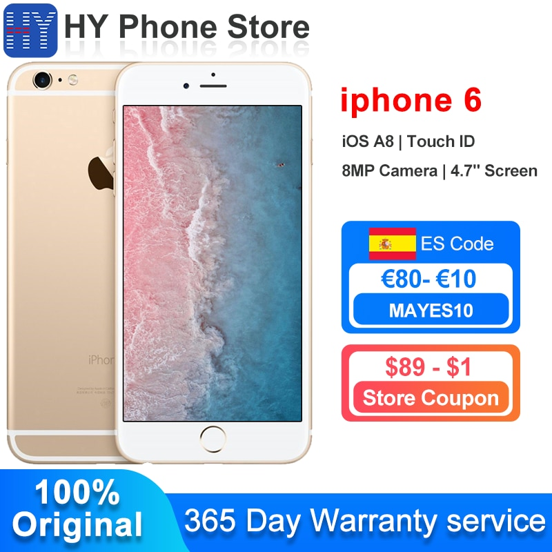 In Stock Apple iPhone 6 16GB ROM Unlocked Smartphone iOS A8 Touch ID 8.0MP Camera 4.7