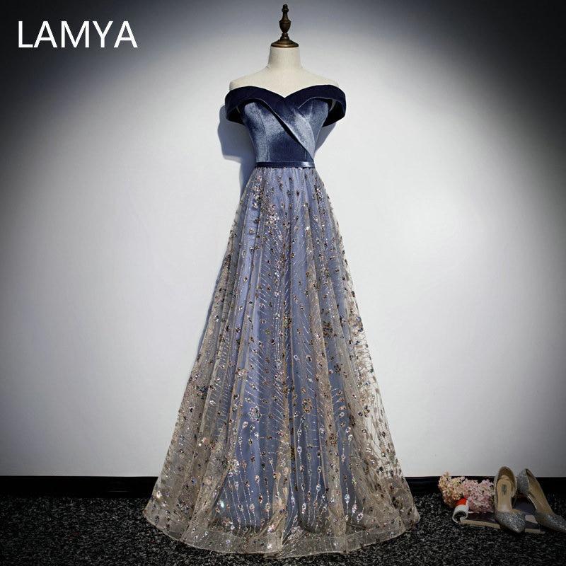 LAMYA Elegant Sequined A Line Skirt Evening Party Dress Bodice V Neck Velour Prom Gown Plus Size Vestido De Festa