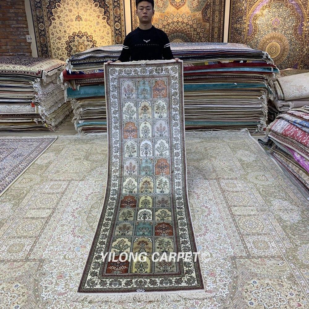 Yilong-سجادة حرير فارسية مزهرة ، 2.5 × 8 بوصة ، صناعة يدوية ، للمدخل (HF350B)