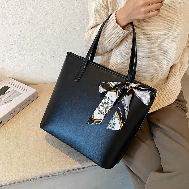 с доставкой Bow design Winter Large PU Leather Shoulder Bags 2020 Trend Hand Bag Women's Branded Trending Black Handbags