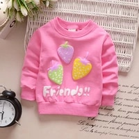 children hoodies sweatshirts boys girls kids cartoon strawberry cotton pullover tops baby spring autumn clothes
