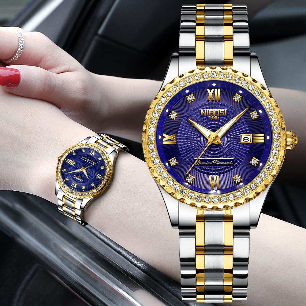 NIBOSI Luxury Ladies Watch Women Waterproof Stainless Steel Strap Women Wristwatch Top Brand Bracelet Clocks Relogio Feminino