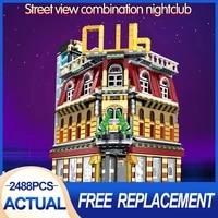 sembo sd6991 5 in 1 usb light nightclub house building blocks city street view series figures bricks education toys for kid