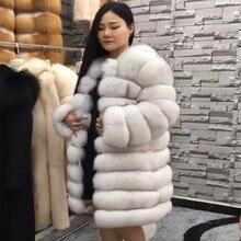 Import manteau en fourrure de renard femme, pardessus chaud, épais et chaud, en fourrure véritable, peau entière, finlande