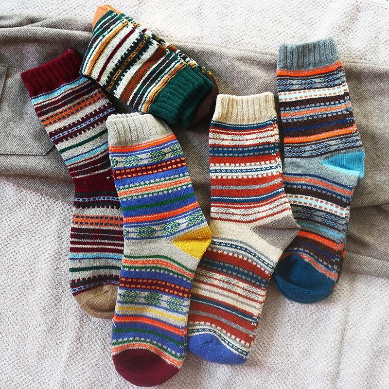 Winter New Men's Thick Warmth Harajuku Retro High Quality sStriped Fashion Wool Casual Socks 5 Pair