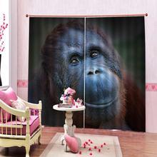 Rideau de douche à motifs danimaux   Rideau occultant, tête de An Orangutan, rideau de fenêtre de salon, rideau de fenêtre, taille sur mesure