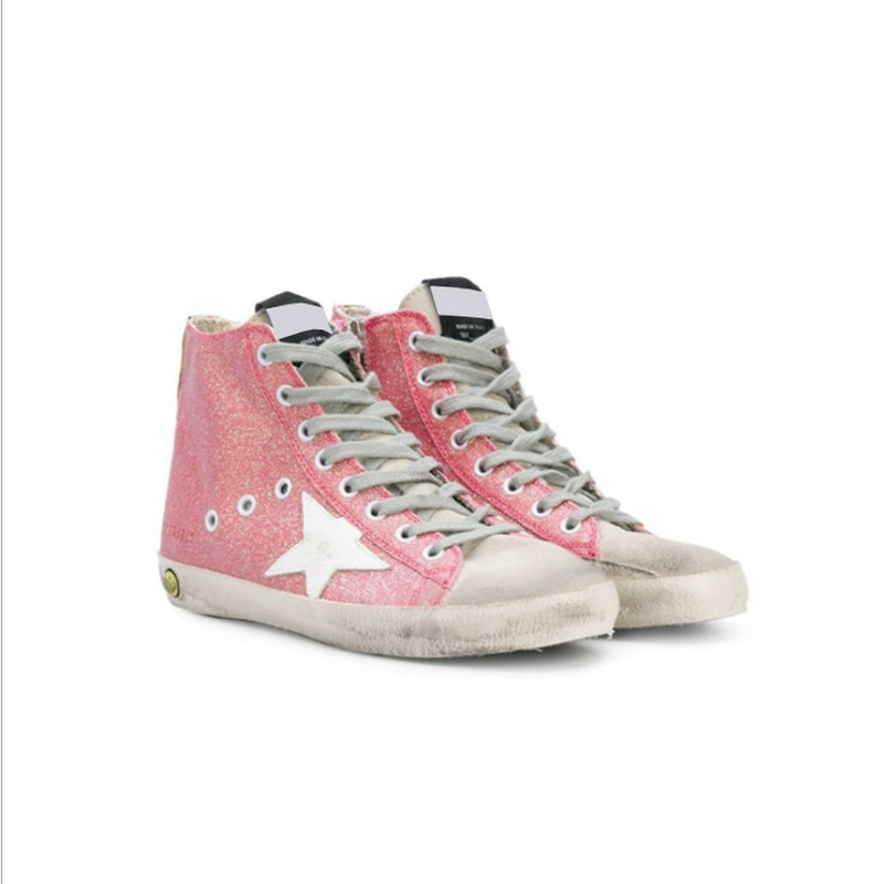 Autumn and Winter New  Parent-child Sneakers First Layer Cowhide Distressed Dirty Star Fashion  High-top Children's Shoes QZ58