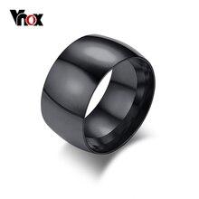 Vnox Punk 11,5mm Breite herren Schwarz Ring Stilvolle Edelstahl Hochzeit Bands Ring Versprechen Finger Ring Männlichen Schmuck