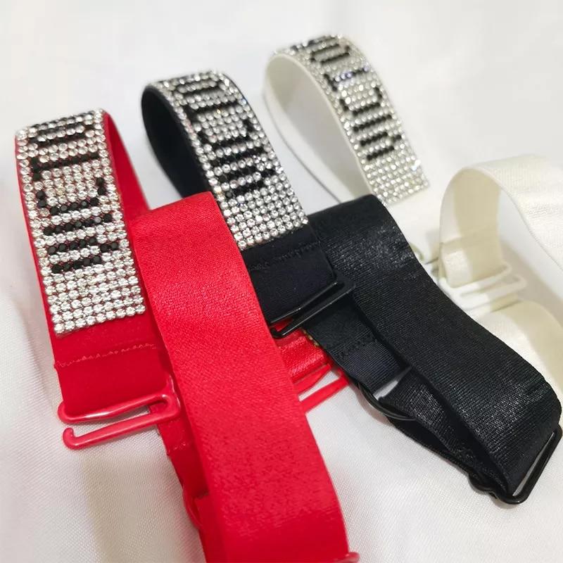 2pcs Shoulder Strap Rhinestone LOGO Slip-Resistant Bra Straps Belt Buckle Bra Shoulder Strap Women Underwear Bra Accessories