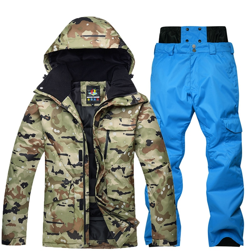 New Thick Warm Snowboarding Suit Men Breathable Waterproof Windproof Ski Jacket Pants Set Male Snow Costumes Outdoor Wear 2020